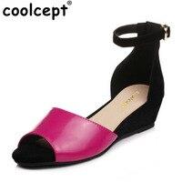 Coolcept Phụ Nữ Nêm Dép của Mắt Cá Chân Dây Đeo Thoải Mái Peep Toe Sexy Rose Red Summer Sandal Giày Dép Nữ Kích Thước Giày Dép 34-39