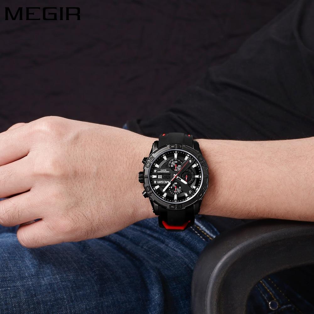 MEGIR Top Marka Luxury Sport Watch Mężczyźni Silikonowy zegarek - Męskie zegarki - Zdjęcie 4