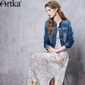 Artka Women's 2016 Autumn Vintage Embroidery Cinched Waist Denim Coat Stand Collar Single Breasted Slim Fit Coat WN10162C
