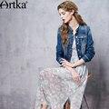 Mujeres artka 2016 Otoño Bordado de La Vendimia Ceñida La Cintura del Dril de algodón Abrigo de Cuello de Pie Solo Pecho Slim Fit Escudo WN10162C