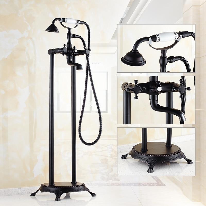 Antique Copper Black Oil Brushed Floor Type Faucet Shower Set European Double Handle Bath Edge Vertical Tap Bathroom Products R6