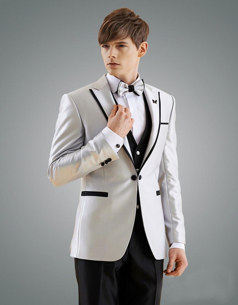 2017 Man Suit New Design Groom Tuxedos Black Edge Groomsman Suit for Man Clothes Custom Made Wedding Suit(Jacket +pants+vest)