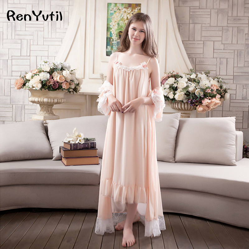 RenYvtil Spring Summer Sweet Princess Sleepwear Women Chiffon Lace Nightdress Home Suit Sling 2 Piece Robe&gown Sets Pyjamas