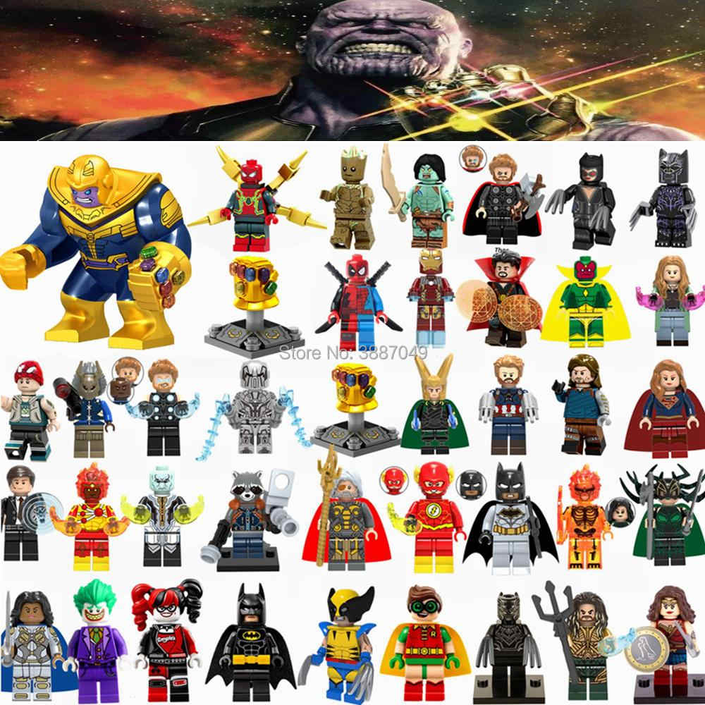 Figurines Marvel Avengers Infinity War Thanos Ironman Spider-man Hulk Deadpool Cute Figurines Toys for Children Legoings