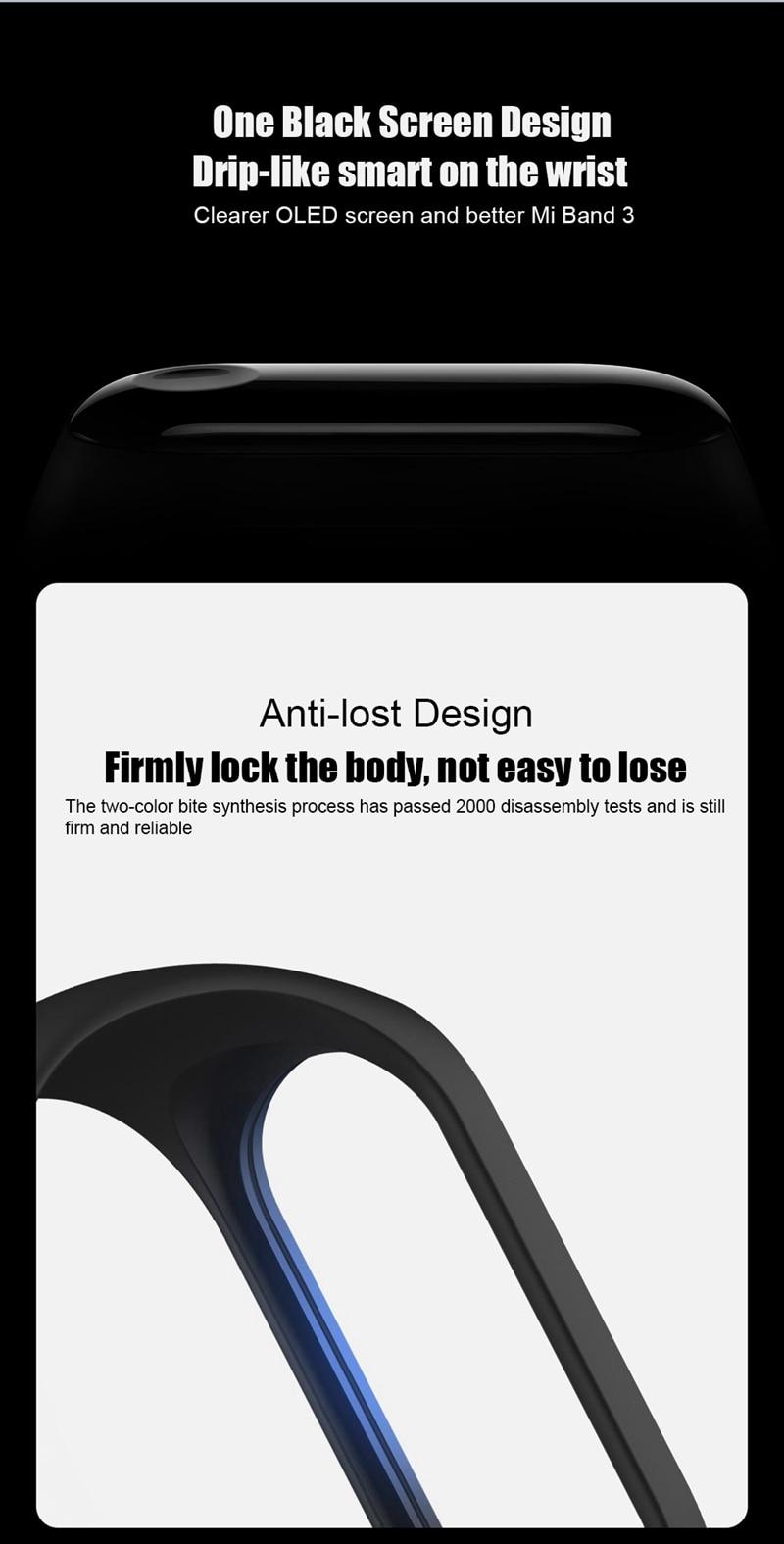 "Original Mi Band 3 Fitness Tracker Smart Bracelet 0.78""Color Screen 5ATM Waterproof Heart Rate Monitor Global Smartband In Stock 32"