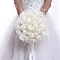 Hot Bridal Bouquets Rose White Rose Wedding Flowers Wedding Bouquets 2018 Sparkly Luxury Pearl for Bride bouquet de mariage