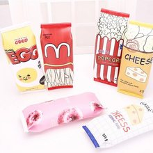 1pcs/lot Snacks Style Kawaii Chips Cheese Popcorm Fast Food PU Pencil Cases Delicious foodbag design pencil bag Funny gift(China)