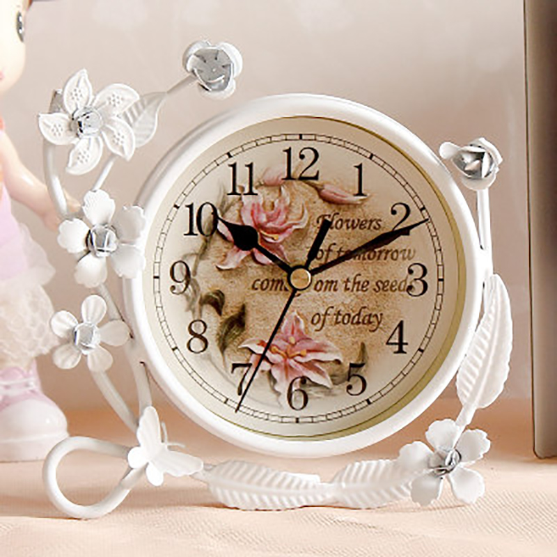 Flowers Around Vine Desktop Clock Multi Modern Style For Living Room Decor Desk Clock Ornaments Creative Table Clocks Masa Saati