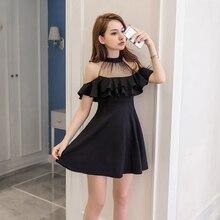 Elegant Simple Black Dress Women Mesh Sequins Ruffles Off Shoulder Summer White S-XXL Korean Sexy Robe Femme Drop Shipping