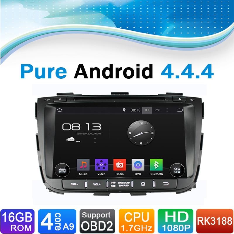 Pure Android 4.4.4 System Car DVD GPS navigační systém pro Kia SORENTO 2013