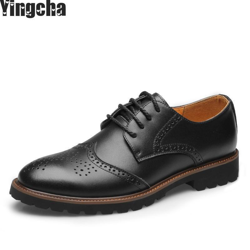 Big Size Men Fashion Black Business Wedding Formal Dress Bright Genuine Leather Shoes Breathable Spring Autumn Oxford Shoe