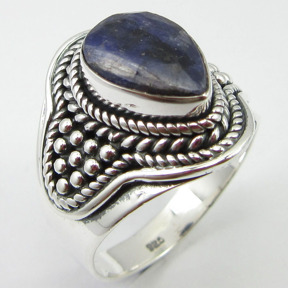 Solid Silver Navy Blue Simulated Sapphires Finger Ring Sz 8 Ladies Engagament Unique Designed