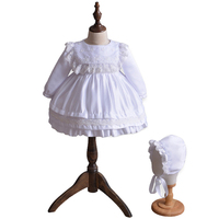 Newborn Infant Christening Gowns Baby Girl Baptism Dresse White Ivory Lace Long Sleeves First 1 Year Birthday Outfit with Cap
