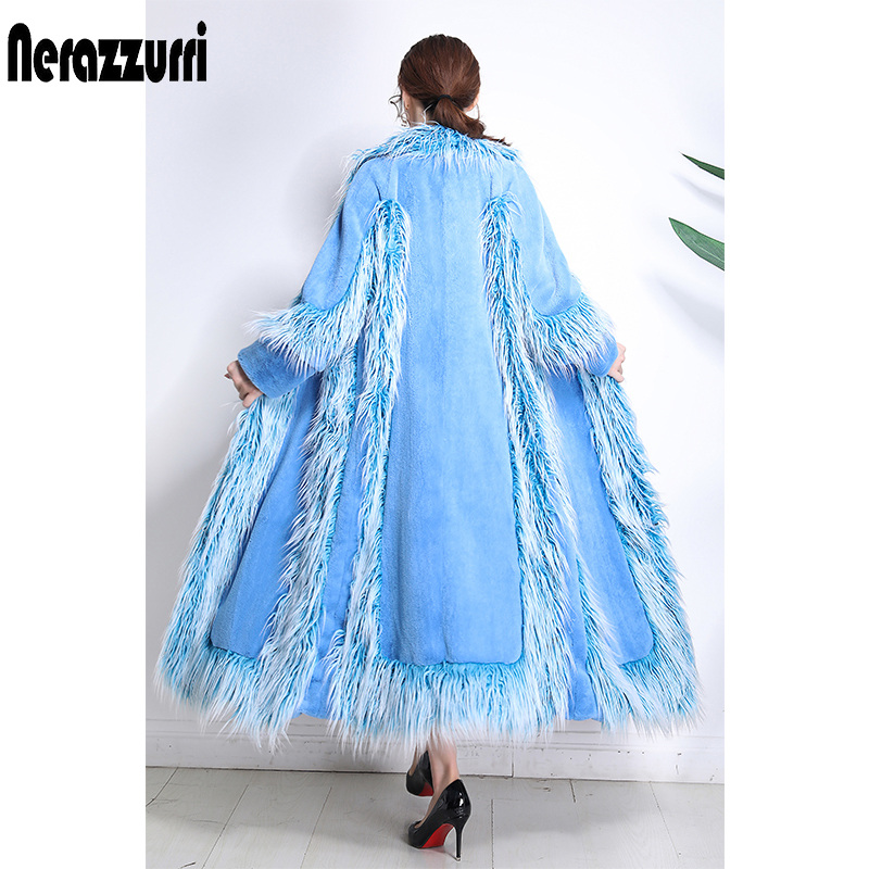 Nerazzurri Brand Luxury Runway Faux Fur Coat Women 2018 Winter High Quality Fashion Furry Patchwork Fur Outwear Large Size 5xl