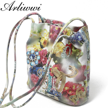 Arliwwi Lady 100% Real Leather Floral Embossed Shoulder Handbags New Genuine Cow Leather Shiny Flower Messenger Bags GB09