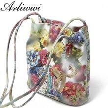 Arliwwi Lady 100% en cuir véritable sacs à bandoulière en relief à fleurs nouveau véritable cuir de vache brillant fleur sacs de messager GB09