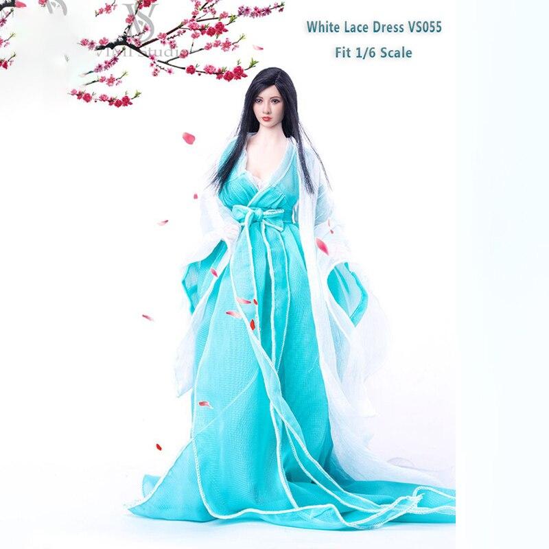 1/6 Escala Roupas de Renda Branca VS055 Light Blue Bowknot Costume Dress Suit Para 12