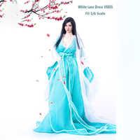 "1/6 escala roupas de renda branca vs055 luz azul bowknot traje vestido terno para 12 ""phicen ht jodoll ttl brinquedos boneca figura ação"