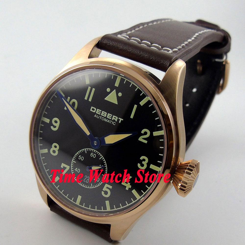 DEBERT 42mm black dial date green marks luminous Sapphire Glass Automatic men's watch DE19