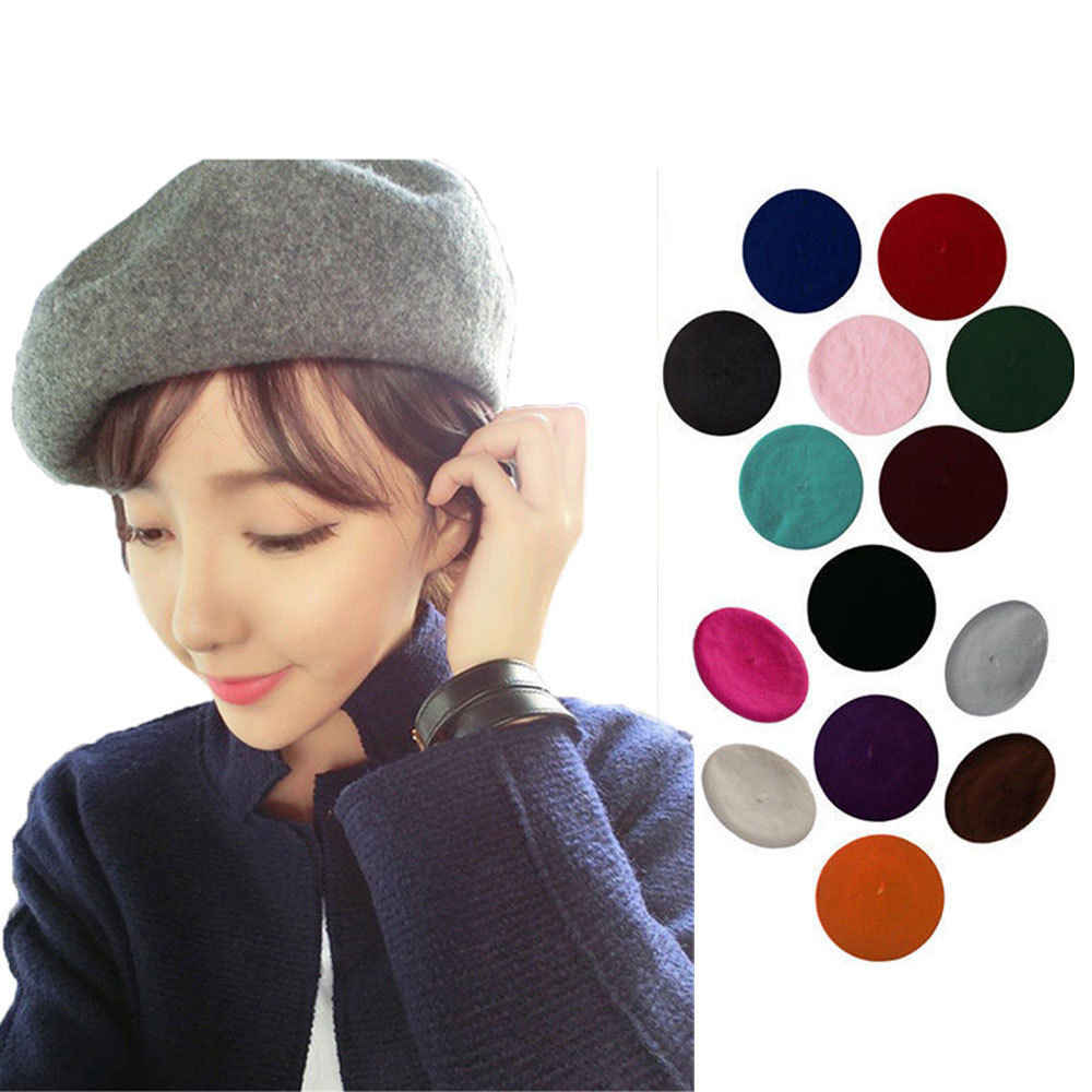 c653761e64c16 ... 1PC Fashion Sweet Winter Wool Blend Beret Warm Women Felt French Beret  Beanie Solid Color Berets