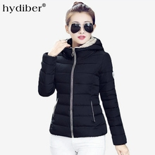 HYDIBER 2018 New Brand Winter Jacket Women Hooded Slim Cotton Padded High Neck Zipper Candy Color