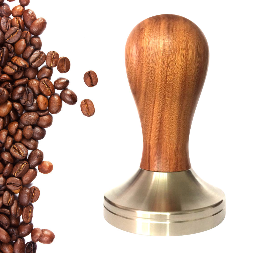 Newly 2019 Wooden Espresso Coffee Tamper 51mm/58mm Stainless Steel Flat Base