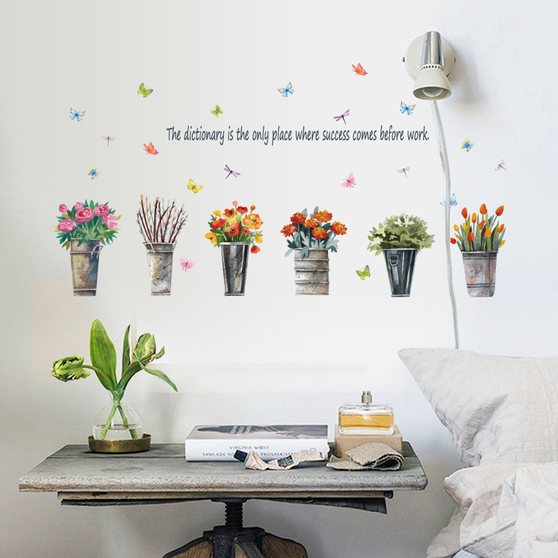 little plants flower pots wall stickers women house living room bedroom home decor for kids rooms art murals adhesive DIY decals