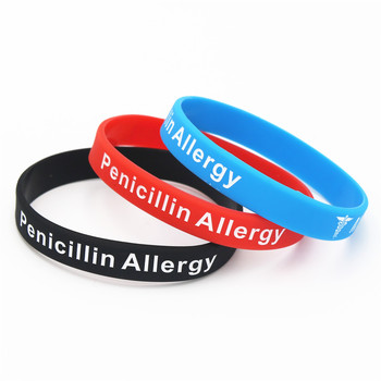 1PC Hot Sale Bracelets Medical Alert Penicillin Allergy Silicone Wristband Armband Nurse Bangles Adult 3 Colours Gift SH093 1