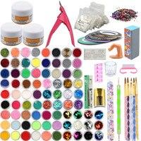 Acrylic Nail Art Manicure Kit 78 Color Nail Glitter Powder Decoration Acrylic Pen Brush False Finger Pump Nail Art Tools Kit Set