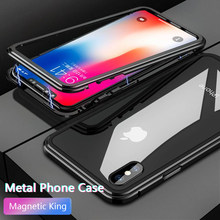 Fashion Metal Frame Tempered Glass Phone Case for IPhone 6 6P 7 7P 8 Magnetic Attraction All-inclusive Case For XS XR XS MAX X(China)