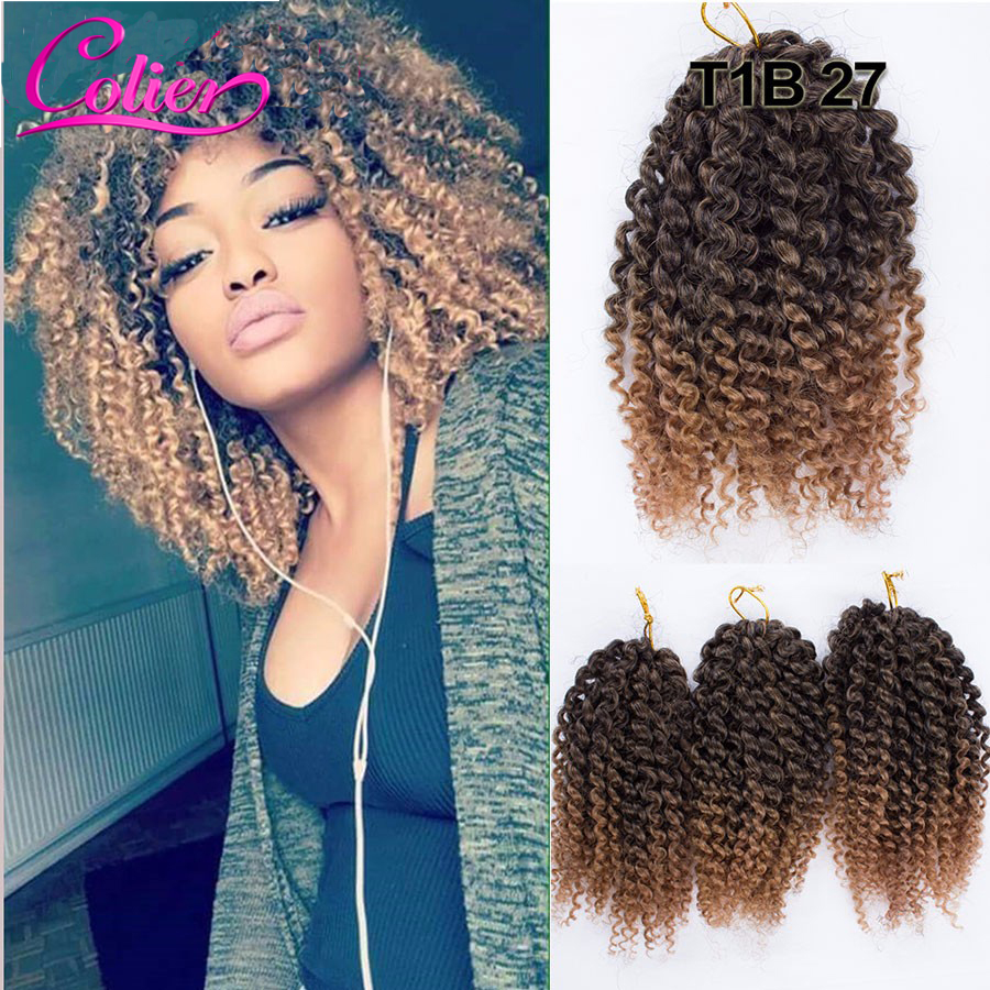 T1B/27 Color 8 inch Marlybob Crochet Braids Hair Curly