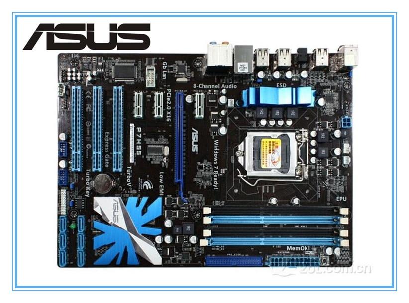 USADO original ASUS motherboard P7H55 placas DDR3 LGA 1156 para intel i3 i5 i7 cpu H55 16GB mainboard Área de Trabalho motherboard PLACAS