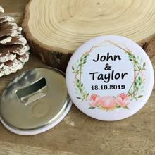 30pcs Custom Personalized name date Bottle Opener Refrigerator magnet Souvenirs Wedding Favor Gifts Advertising Promotion Gifts