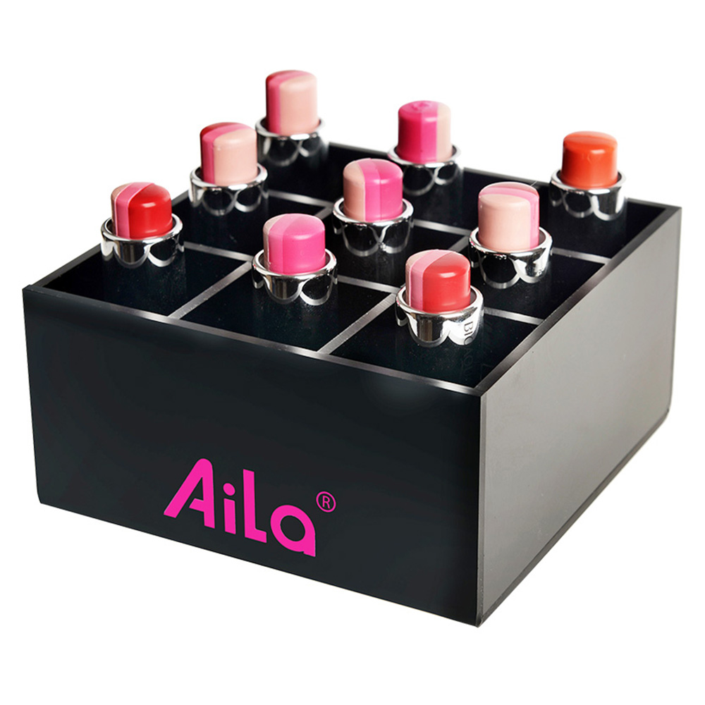AILA 2017 New Black Acrylic Lipstick Storage Box Nail Polish Box Square Sudoku Jewel Case