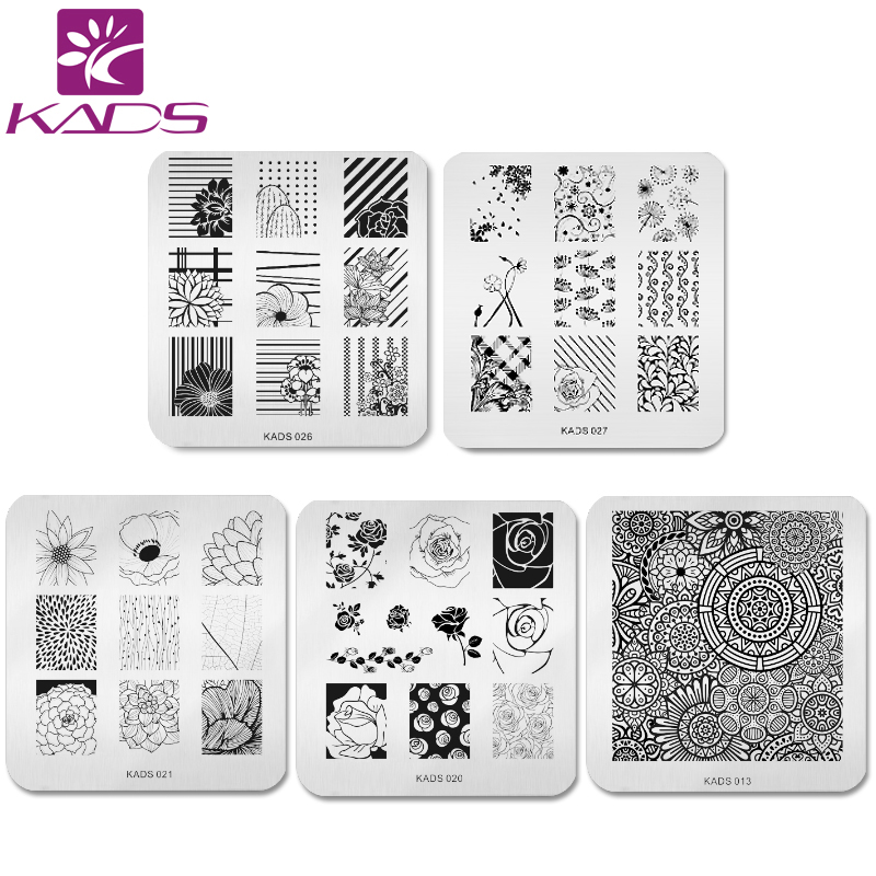 KADS 5pcs/set Flower Stamping Print Sencil Nail Art Polish Stamping Plates Nail Beauty Template Manicure DIY Styling Tools 10pcs nail art stamping printing skull style stainless steel stamp for diy manicure template stencils jh461 10pcs