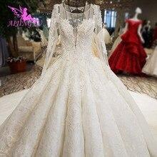 AIJINGYU Weddingdress ยาวรถไฟ Gowns ราคาไม่แพงเว็บไซต์ฤดูร้อนเจ้าสาวอุปกรณ์เสริมร้านค้าผู้หญิง Polka Dot Gown งานแต่งงานสี