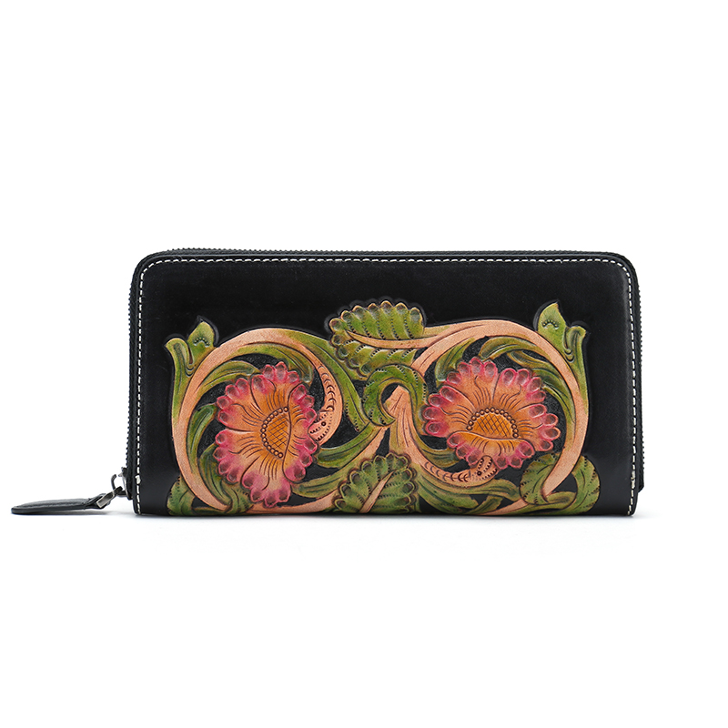 Hot Sale Woman Wallet italian vegetable tanned Leather Women Wallets Purse Female Long Lady Clutch banabanma hot sale new fashion high capacity women wallets metal crown lady long clutch wallet female pu leather flip up zk30