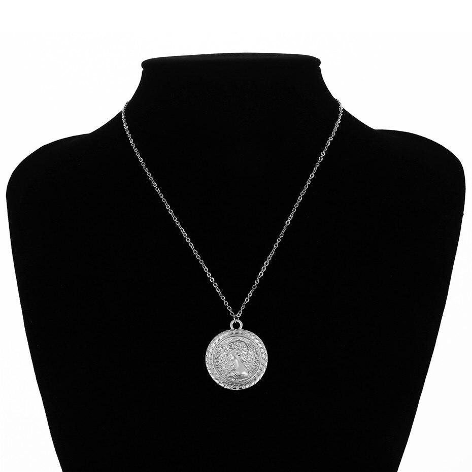 Ingemark, простое, винтажное, резное ожерелье с кулоном в виде монеты, крупное лицо, Богиня Девы Марии, розы, ангела, длинная цепочка, ожерелье для женщин - Окраска металла: Silver