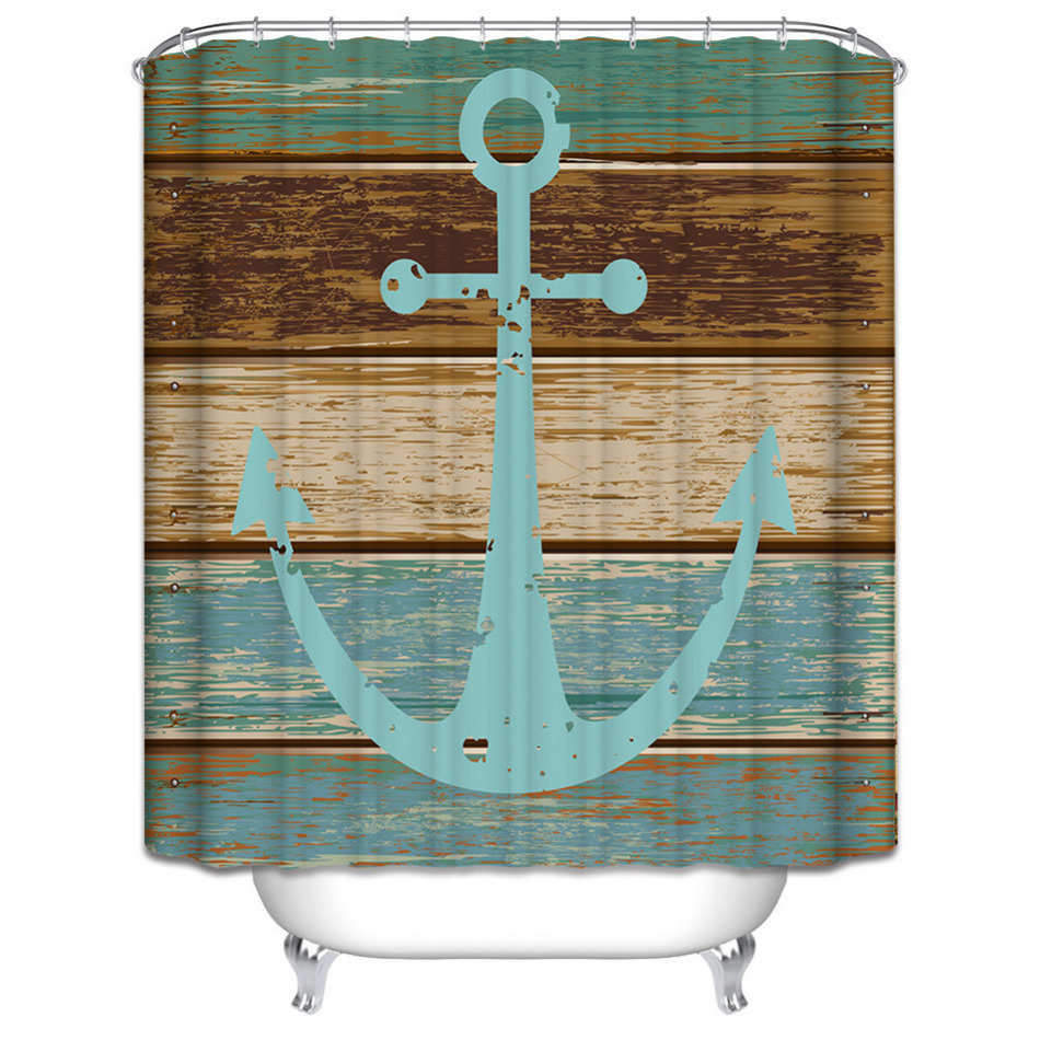 Rustic bathroom decor - Waterproof Shower Curtain Polyester Mildew Rustic Wood Nautical Anchor Pattern Shower Curtain With Hooks Bathroom Decor Bath Art