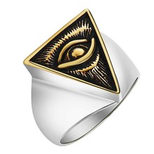 Vintage Silver Man Ring Illuminati Devil Eye Symbol Ring Pattern Gold Color High Quality Stainless Steel Male Rings for Men Gift stainless steel devil eye shape ring page 6