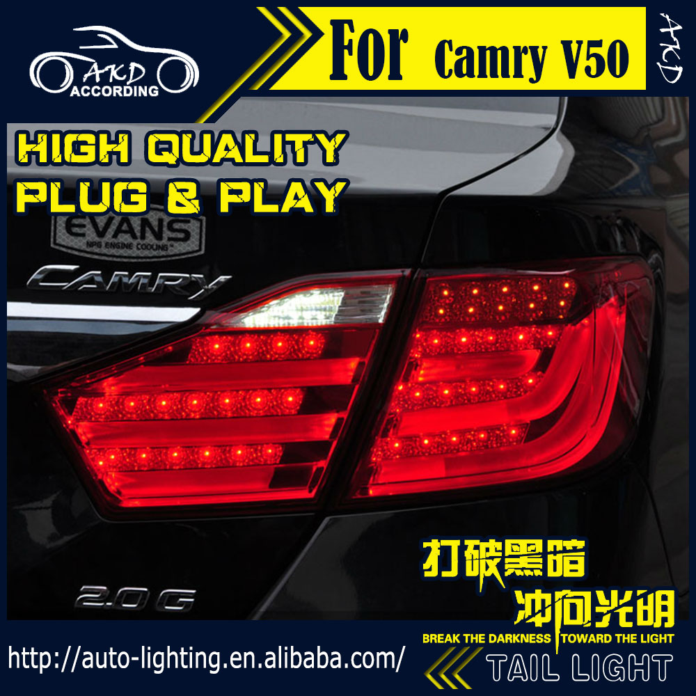 AKD Car Styling Tail Lamp for Toyota Camry V50 Tail Lights 2012-2014 LED Tail Light Signal LED DRL Stop Rear Lamp Accessories akd car styling led drl for kia k2 2012 2014 new rio eye brow light led external lamp signal parking accessories