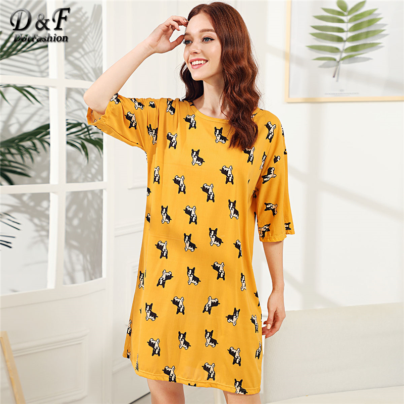 3e031a24150d Dotfashion Dog Print Night Dress 2019 Yellow Short Sleeve Cute Female Round  Neck Cartoon Sleepwear Girls Casual Night Dress