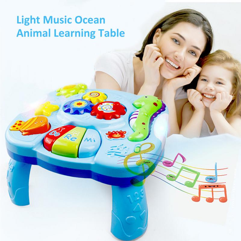 Toys Musical Learning Table Aquatic Creatures Music Activity Center Game Table Toddlers Kids Boys Girls Toys For 0-2 Years Old