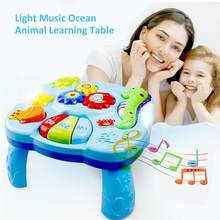 Toys Musical Learning Table Aquatic Creatures Music Activity Center Game Table Toddlers Kids Boys Girls Toys For 0-2 Years Old(China)