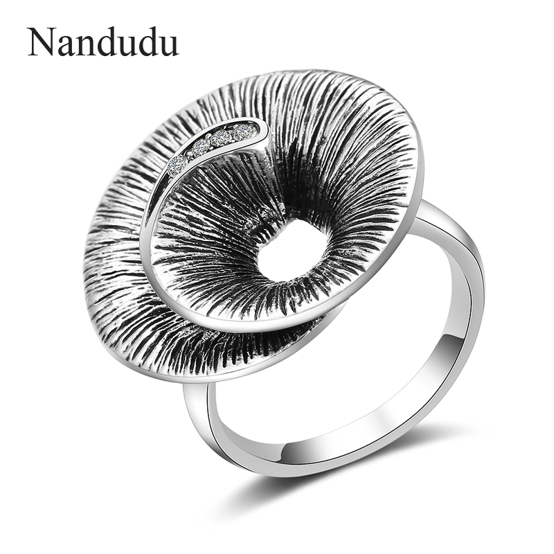 Nandudu Retro Silver Color Rings for Women Vintage Ring Crystal Finger Ring Female Wide Cocktail Party Jewelry Bijouterie R1995 насадка для кухонного комбайна kitchenaid 5kpdr