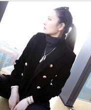 Paris Luxury Brand Designers Double Breasted Black Velvet Blazer Women's Shawl-lapel Embossed Gold Buttons Tailored Blazer