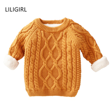 LILIGIRL Kids Boys Sweater Winter Thick Plus velvet Warm Kids Age for 1-8 yrs Baby Girl Sweater Spring Long Sleeve Knitwear Top children clothes knit 2pcs set age for 4 14 yrs teenage girls winter thick warm school style outfits long sleeve sweater pants