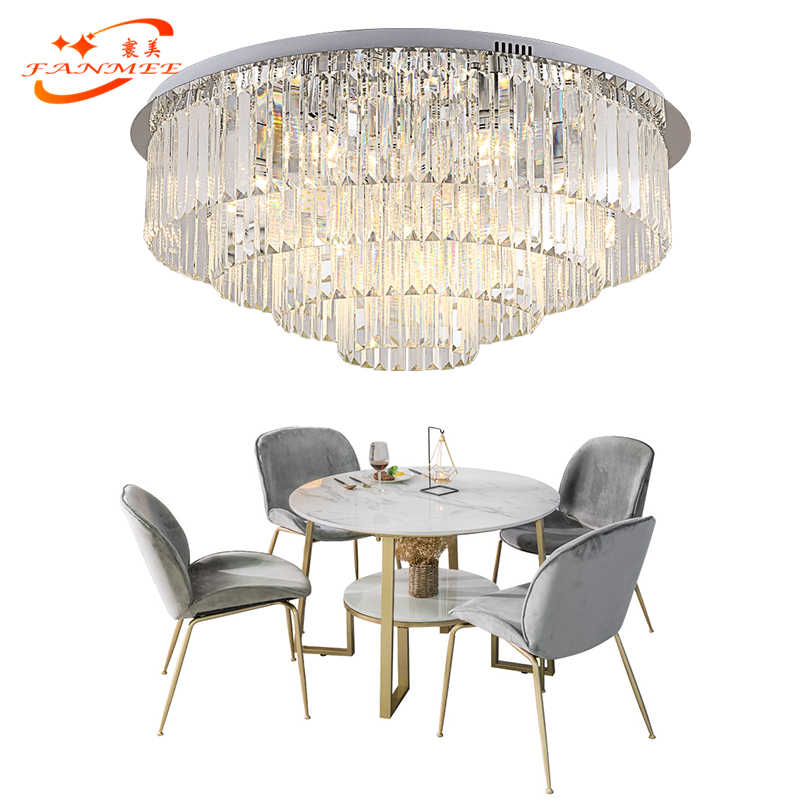 Modern Odeon Ceiling Chandelier Lighting LED Cristal Chandelier Lamp Luxury Lustre de Cristal  Flush Mounted Crystal Chandeliers