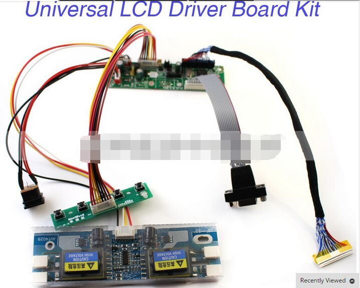 LCD Monitor Driver Board Kit W/ Keypad VGA Cable 4-C Inverter Built-in 23 Programs Support 10-22'' LVDS Screen Free Shipping