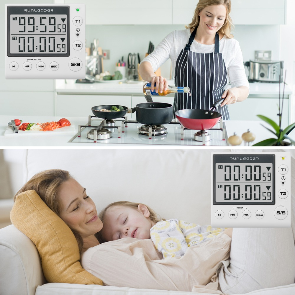 Image 3 - Kitchen Timer Digital Countdown Timer 2 Channel Flashing LED for Lab Electronic Kitchen Homework Exercise Gym Workout Cooking-in Timers from Tools